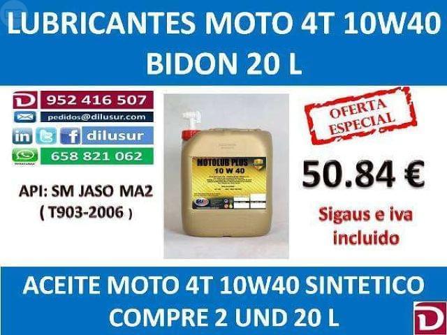 LUBRICANTE MOTO 4T 10W40 20 L - foto 3