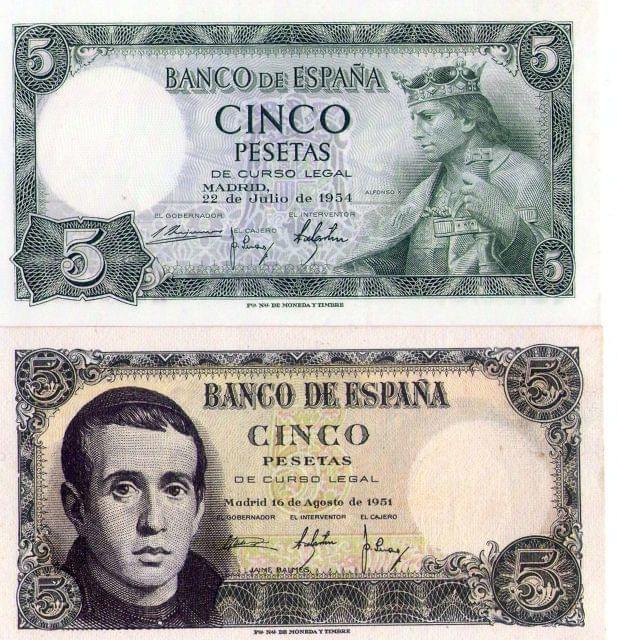 5 PESETAS 1951 Y 1954 SIN CIRCULAR