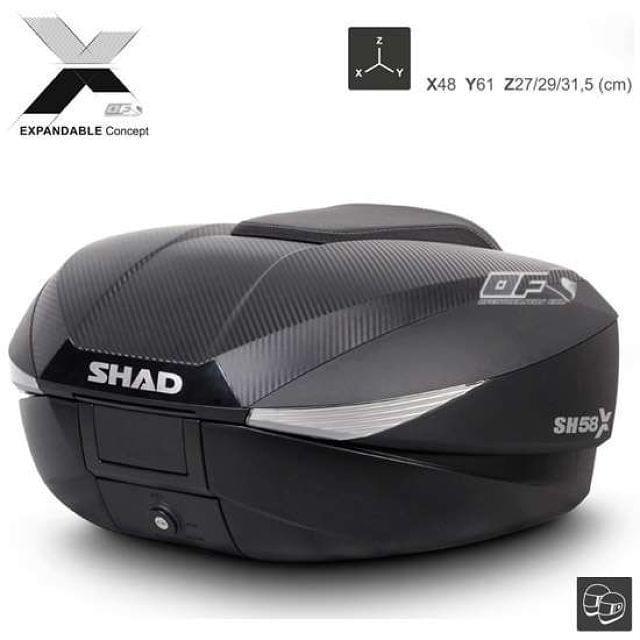 BAÚL MOTO EXPANDIBLE SHAD SH58X CARBONO - foto 1