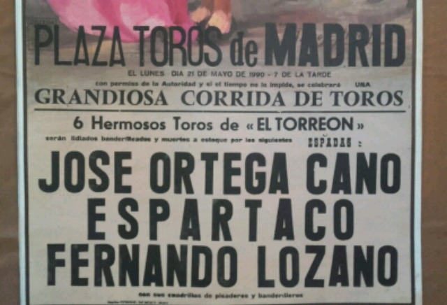 Cartel De Toros De Madrid 21/5/1990.
