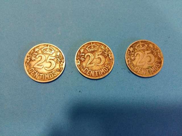 3 Monedas Alfonso Xiii 25 Centimos 1925