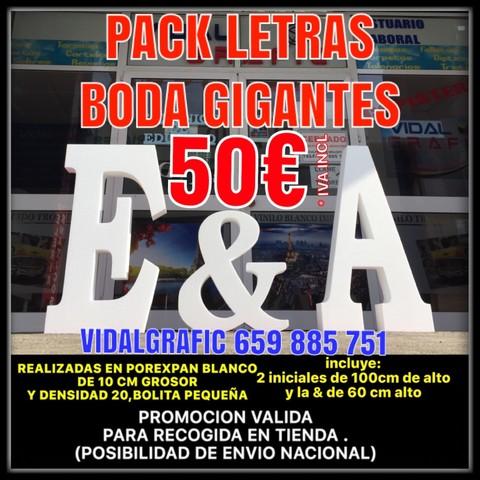 SUS LETRAS GIGANTES DE BODA DESDE 17 UD