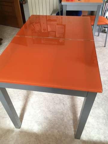 Mesas De Cocina Milanuncios.Mesa Comedor En Cristal Naranja