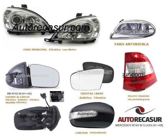 Recambio cristal espejo retrovisor con carcasa Izquierdo=Derecho Opel Combo 93=