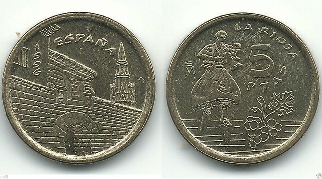 2 Monedas España 5 Pesetas 1996 La Rioja