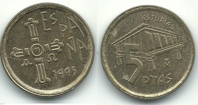 Monedas Juan Carlos I 5 Pesetas Asturias