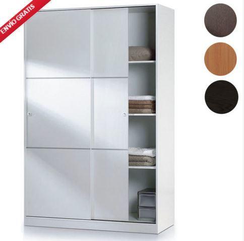Armario ropero dormitorio puertas correderas blanco brillo 150x200cm moderno