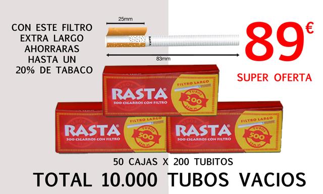 TUBOS VACIOS PARA CIGARRILLOS TABACO