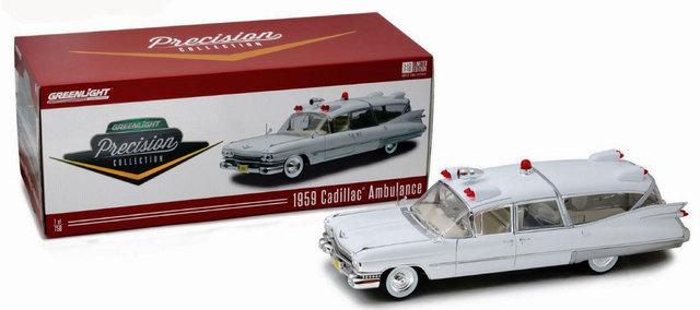 Cadillac Ambulance 1959 rojo blanco maqueta de coche 1:18 GreenLight Collectibles