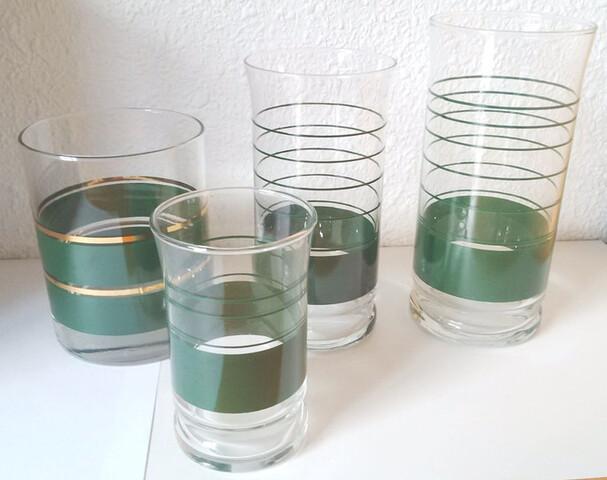 8 Vasos Decorado Verde Nuevos