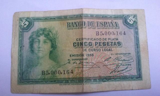 5 Pesetas,....De Año 1935