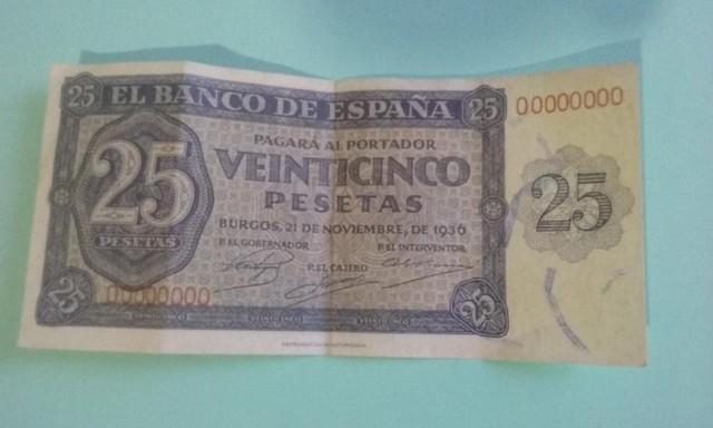 25- Venticinco  Pesetas,De 1936