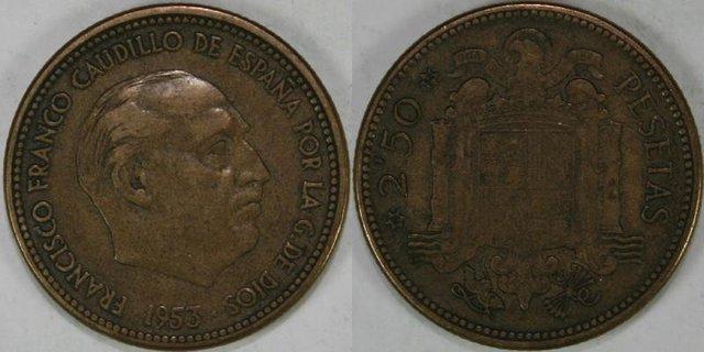 5 Monedas De 2,5 Pesetas De 1953