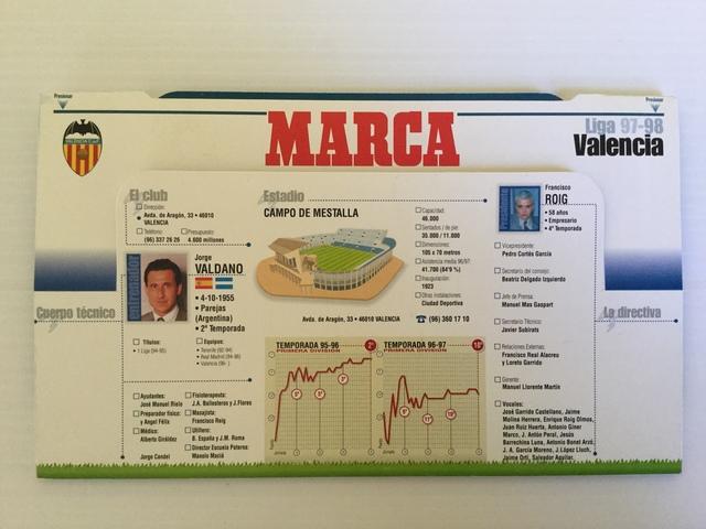 oferta reunirse salida de fábrica CALENDARIO MARCA LIGA 97/98 VALENCIA CF