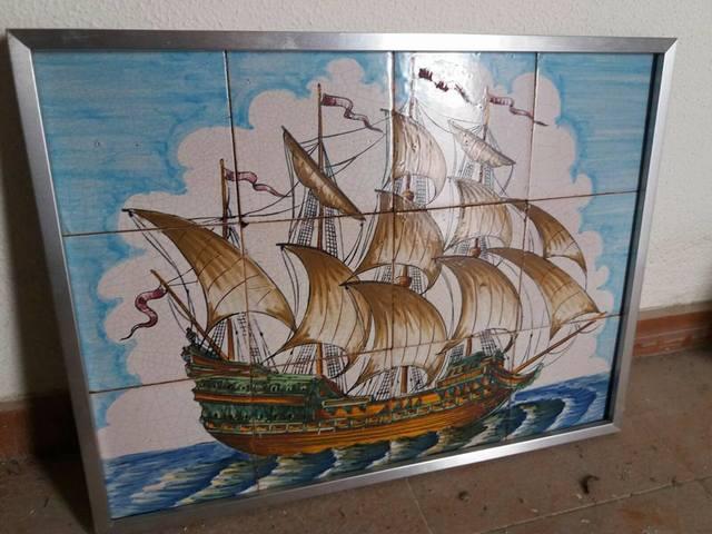 Cuadro Azulejo Antiguo Barco