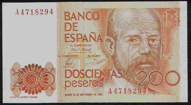 200 Pesetas De 1980 Serie A,Sc/Plancha
