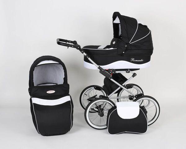 Coche de bebe Romantic Negro Blanco Chasis Negro   eBay