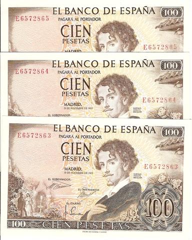 Billetes De 100 Pesetas G.A.Becquer