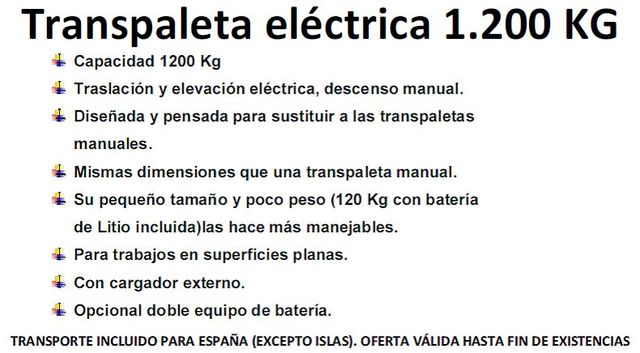 * TRASPALETA ELECTRICA CAMION 1200 KG - foto 4