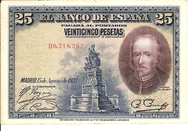 Billetes De 25 Pesetas Calderon De La B
