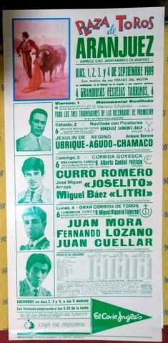 Cartel De Toros  De Aranjuez 1989.