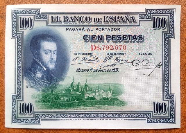 100 Pesetas 1925 Serie D,Sc/Plancha
