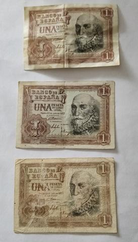 3 Billetes De 1 Peseta Año 1953