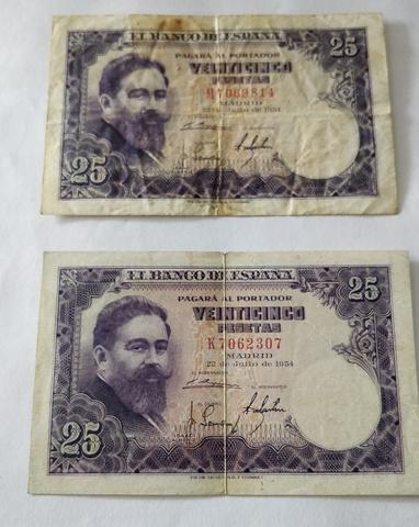 2 Billetes De 25 Pesetas. Año 1954