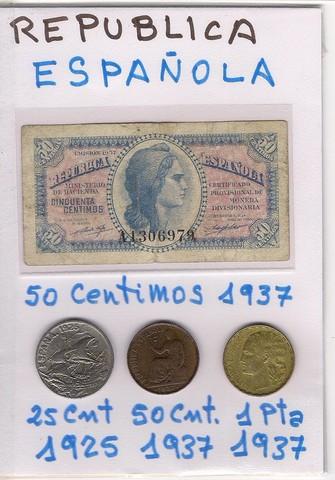 República Española, 1 Billete Y 3 Moneda
