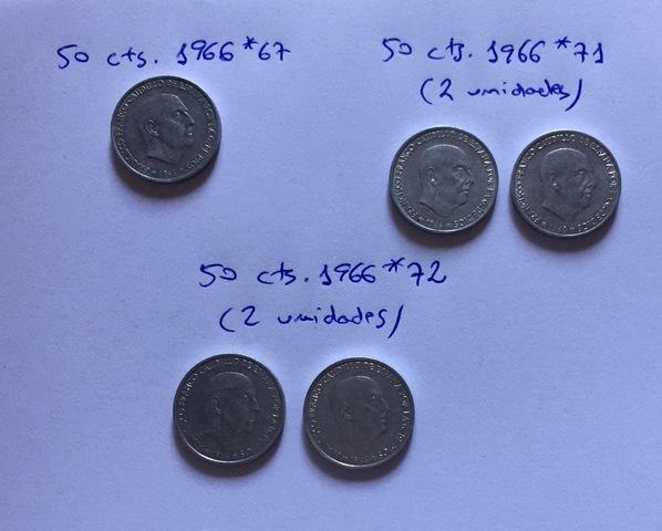 5 Monedas 50 Céntimos 1966 Varias*