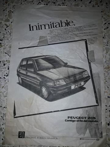 Peridiodico Peugeot 205 Años 80
