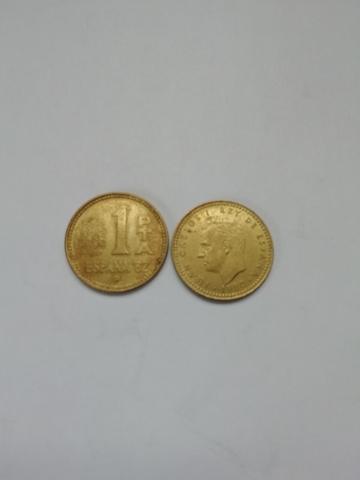 Monedas De Una Peseta Del Rey