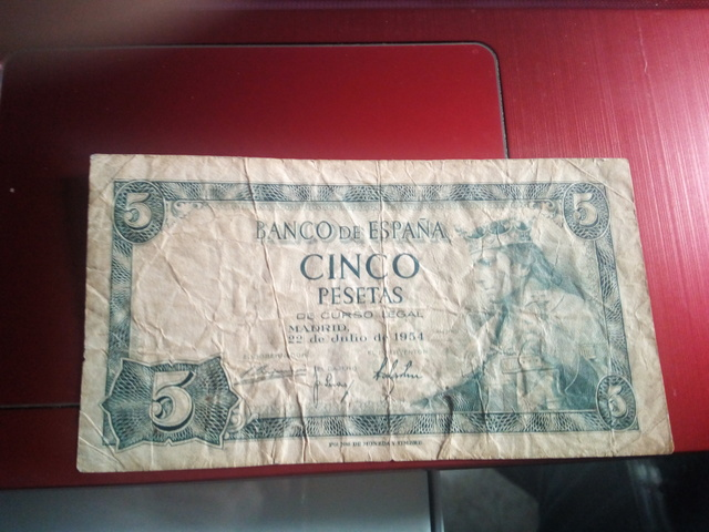 Billete De Cinco Pesetas Julio 1954