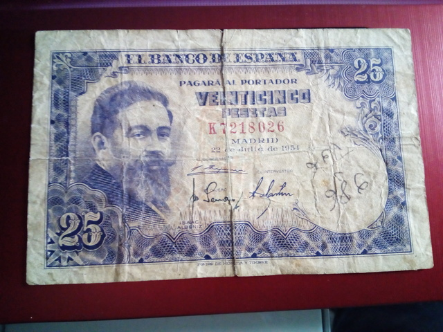 Billete De 25 Pesetas De Julio 1954