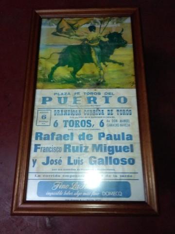 Cartel De Toros Enmarcado Año 1978