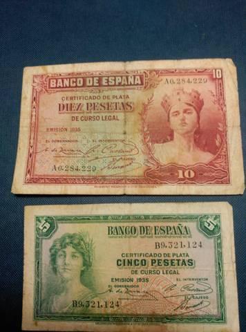 Billetes Y Monedas Diez Y Cinco Pesetas