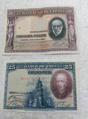 Billetes Y Monedas 25 Y50 Pesetas