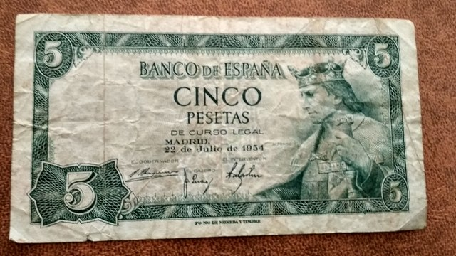 Billete De 5 Pesetas De 1954
