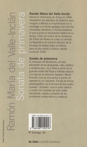 LIBRO SONATA DE PRIMAVERA,  VALLE-INCLÁN - foto 2