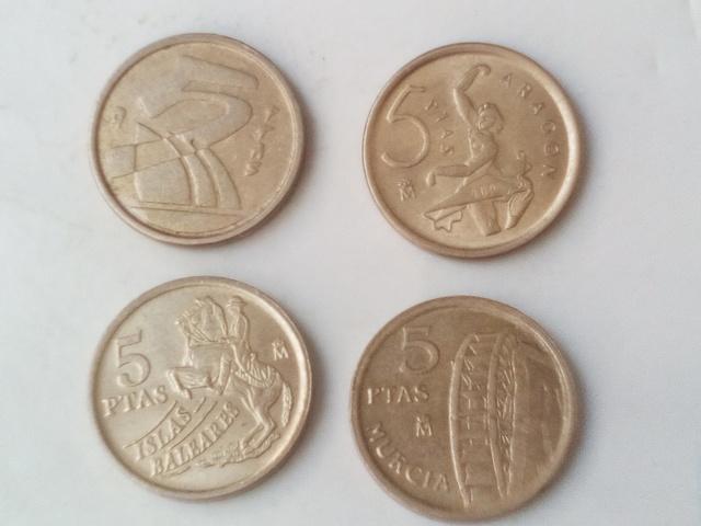 4 Monedas De 5 Pesetas