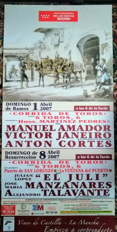 Cartel De Toros En Madrid. 1Y8/ 4/2007.
