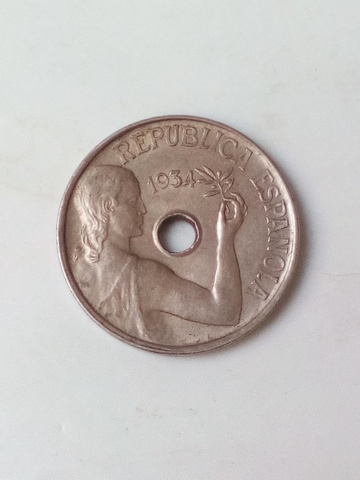 Moneda 25 Centimos 1934 Republica Arras