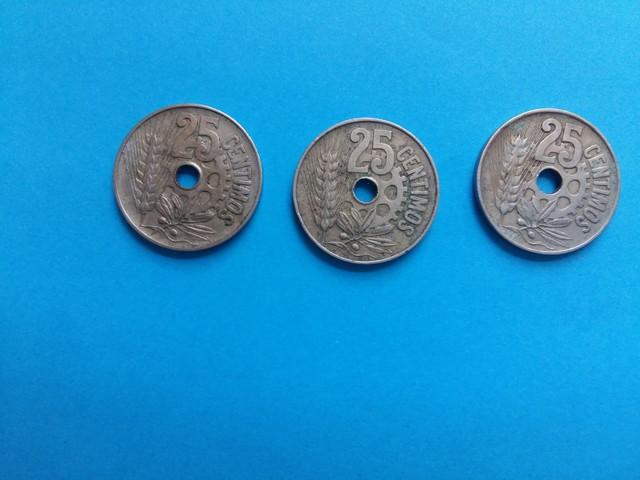 3 Monedas 25 Centimos 1934