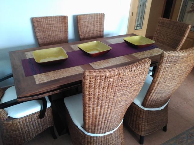 MIL ANUNCIOS.COM - Comedor mesa teca+sillas rattan natural