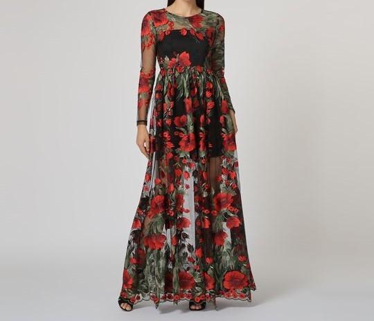 0127236da23 MIL ANUNCIOS.COM - Vestido largo negro flores rojas t40