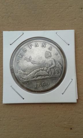 Moneda Réplica De 5 Pts. De 1869