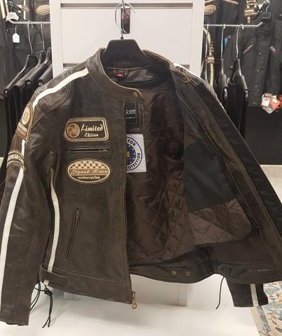 Chaqueta de Cuero desgastada de Moto Retro Vintage Chaqueta de Moto de Moto Impermeable para Hombres