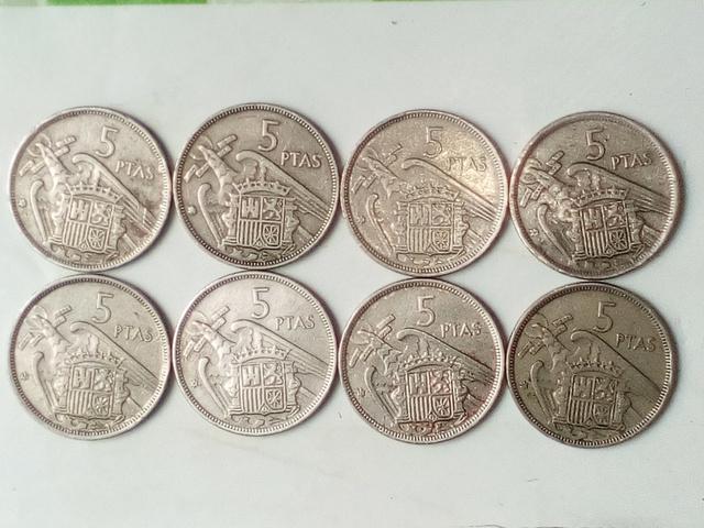 8 Monedas De 5 Pesetas 1957 Franco
