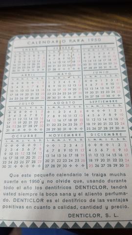 Calendario 1950.Denticlor S L Calendario Ano 1950