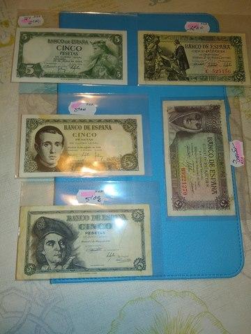 Lote C - 1** 5 Pesetas** 5 Billetes+++